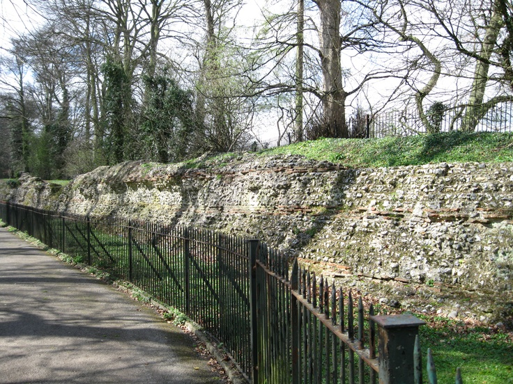 Long surviving section of the Roman city wall, St Albans, England (ancient Verulamium)