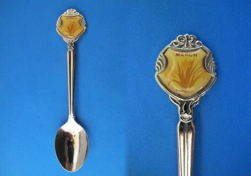March Birthday Souvenir Collector Spoon Collectible Jonquil Flowers