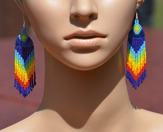 Colorful Rainbow Earrings. Long dangling pretty seed bead earrings handmade by VickiDesignsCA
