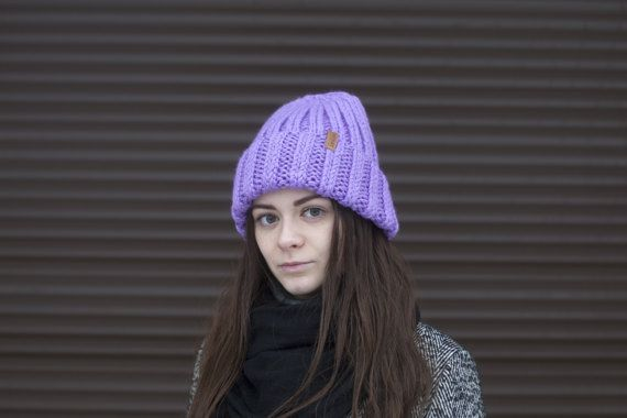 Lavender Cozy Knit Hat for Women Hand Knitting by OneHatStore