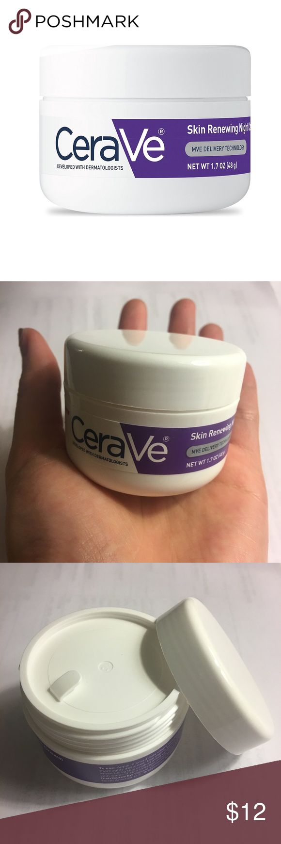 CeraVe Skin Renewing Night Cream 1.7 oz Feature:  With ceramides 1 3 and 6-II Hyaluronic acid to help retain skin's moisture Niacinamide Non-comedogenic Fragrance-free Gentle non-irritating formula.  Condition: brand new without box. Purchased from rite aid received as a gift accidentally threw the box away but I dont need it and havent tried. CeraVe Makeup
