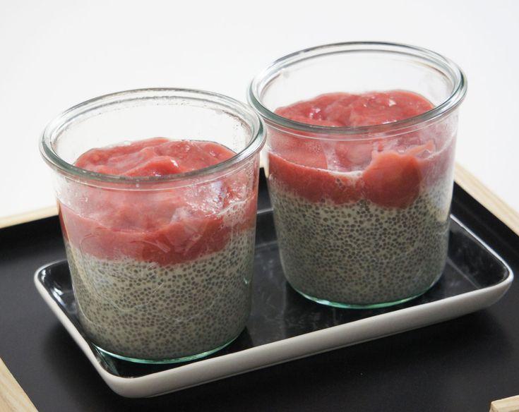 Chia Pudding, Rhabarber-Kompott, Food, vegan, gesund, Foodblog