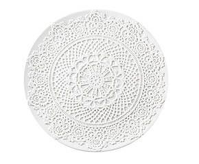 Piatto in porcellana con decoro effetto macrame' bianco - d 29 cm