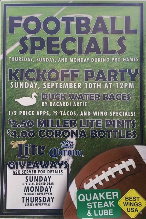 Prizes for duck races - signed JSA certified Phil Simms jersey and a 6 foot chair!! Sunday 9/10 12-4pm