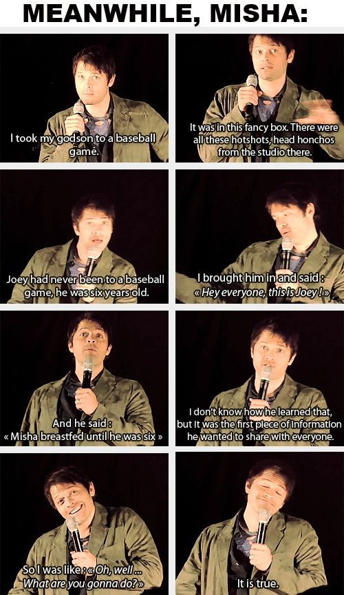"(gif set) Meanwhile Misha ""Oh well, what are you gonna do? It is true."""