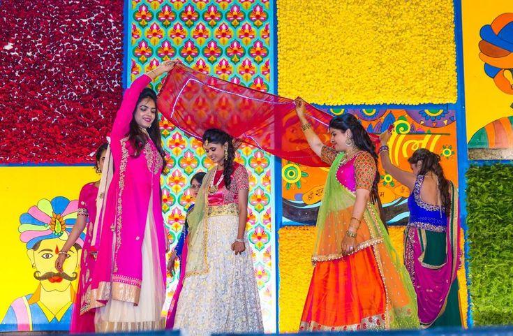 Colorful mehendi sangeet wedding photography Ahmedabad