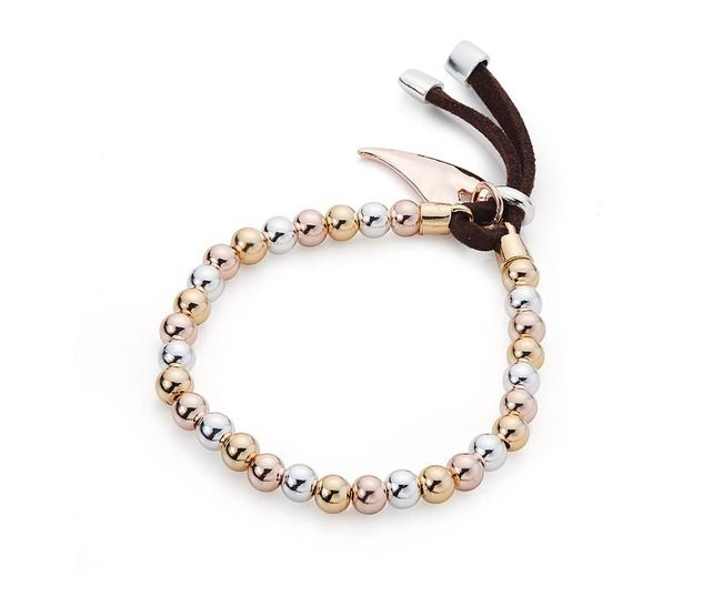 Rose Gold, Yellow Gold and Silver Plate Heart Charm Friendship Bracelet £24.00