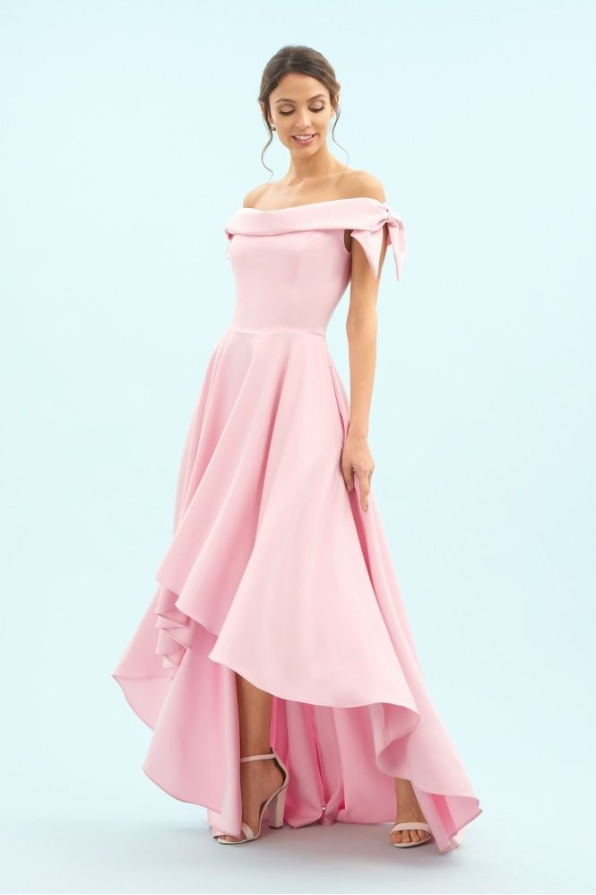 3bac133290cc Tilly Off The Shoulder Bow High-Low Gown