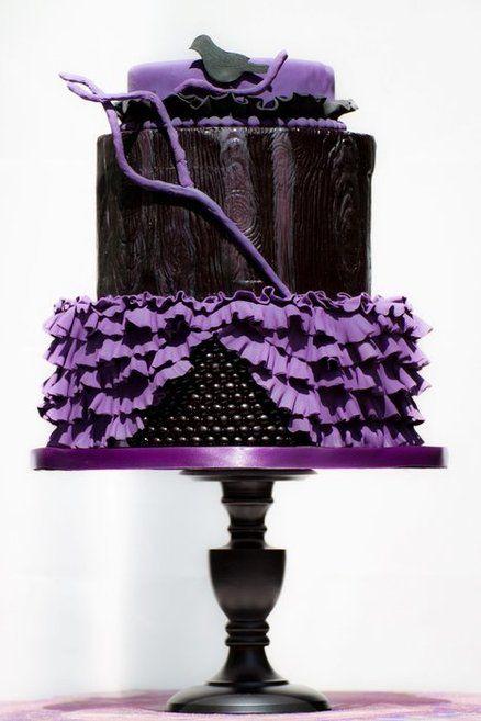 Black & Purple Gothic Wedding Cake