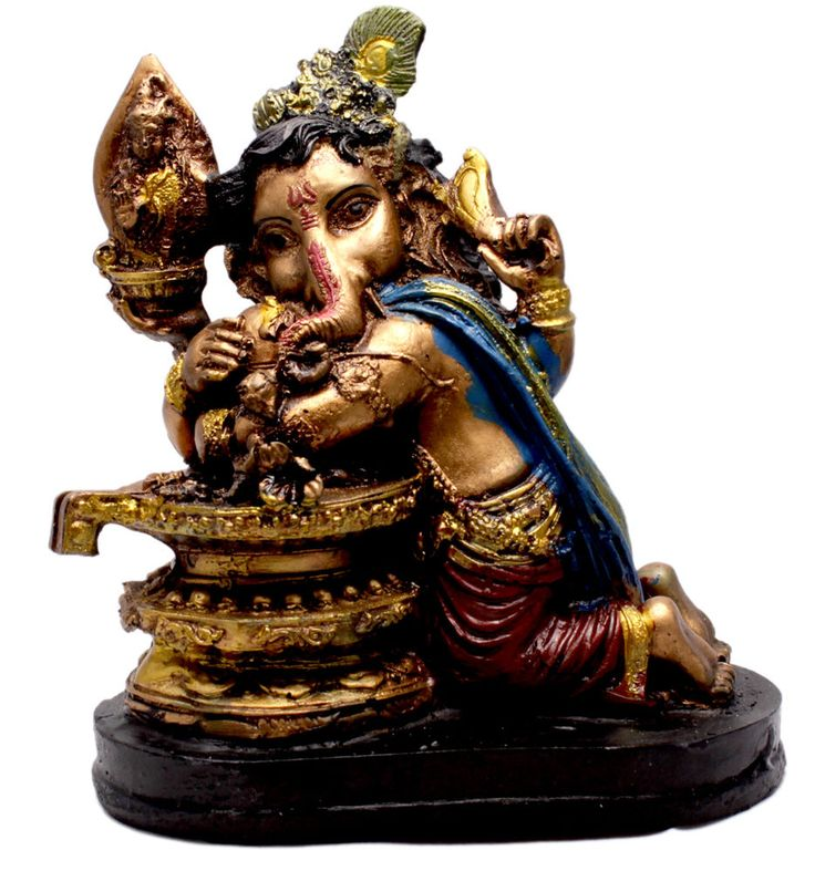 Indian Hand Carved God Baby Ganesha Resin Idol Sculpture Statue Size 6.5 Inches #amazingindia