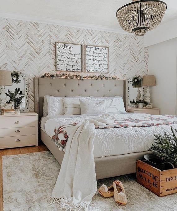 Herringbone Wallpaper Peel And Stick Wallpaper Removable Etsy Cottage Style Bedrooms Home Decor Bedroom Bedroom Design
