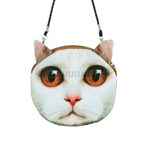 Kissa laukku, valkoinen