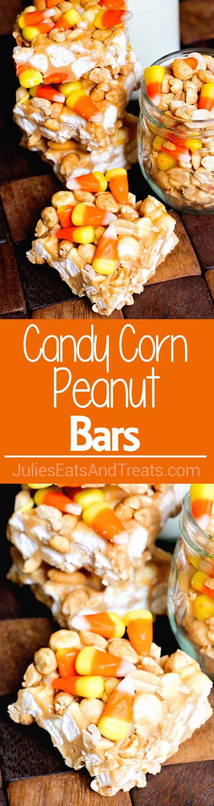 Candy Corn Peanut Bars ~ Loaded with peanuts, marshmallows and candy corn the perfect combo of sweet and salty! via @julieseats