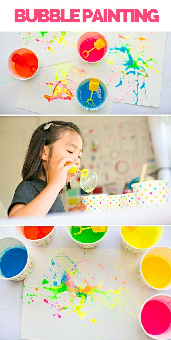 Let the kids create cool abstract art with bubble painting! Super fun video and tips included.
