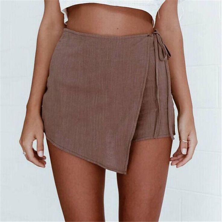 Mujer Sexy Pantalones Cortos Irregulares Remache Borla de La Vendimia de La Manera Floja de Talle Alto Short Jeans