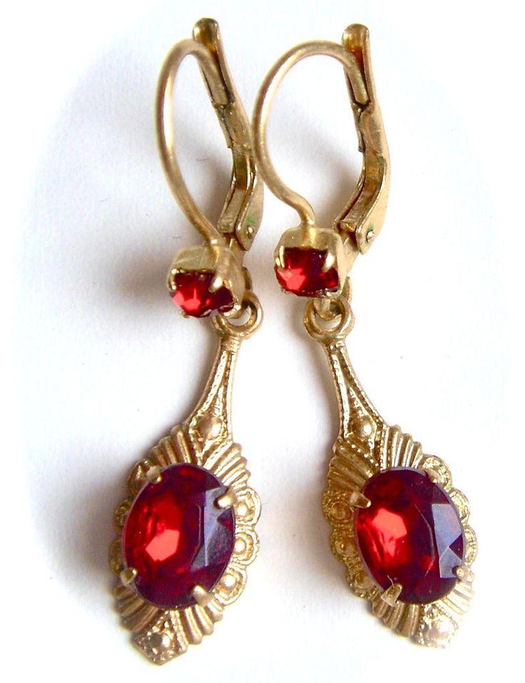Vintage Art Nouveau Deco Czech Glass Earrings Dangle Drop Embossed Red Gold Tone #ArtNouveauArtDeco
