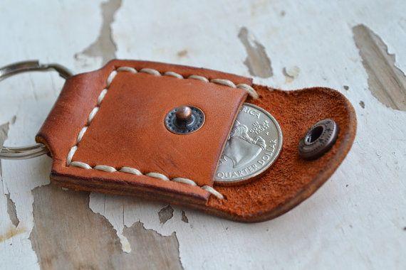 En cuir porte-clé-cadeau fait à la main personnalisé porte-clé-main piqué - rouge Brawn