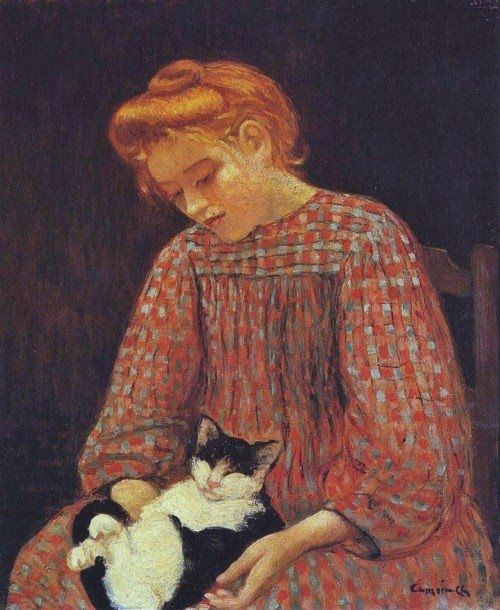 Charles Camoin (French Fauvist painter, 1879-1965) La fille au chat