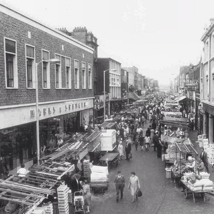 Marks and Spencer and Chapel Street Market in Islington, 1975