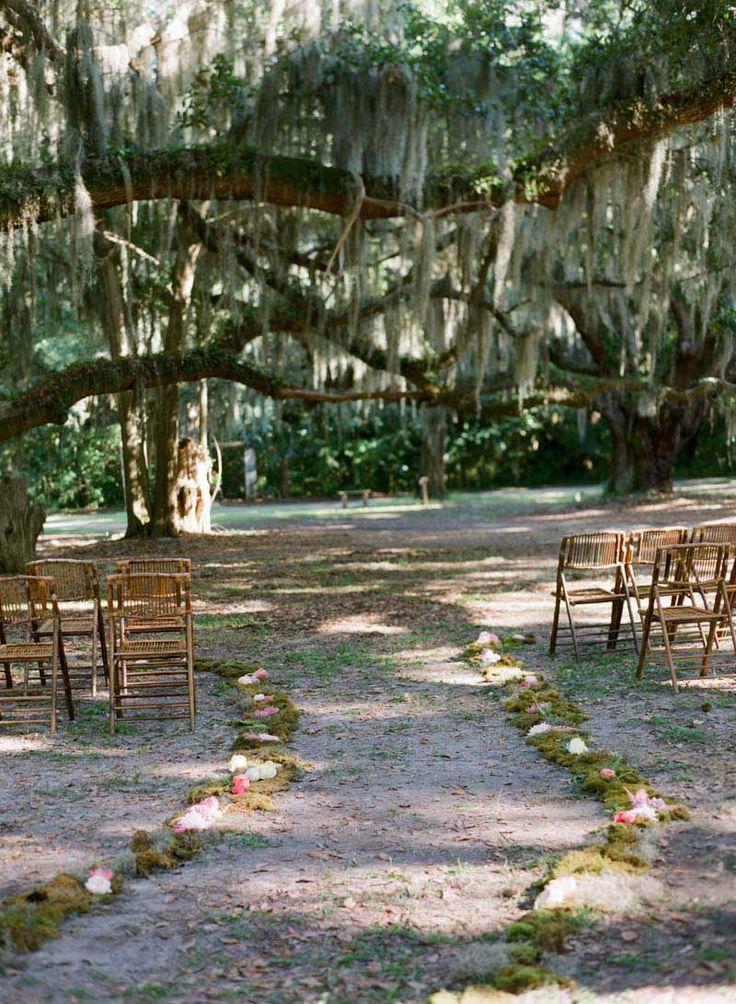 Enchanted Oak Trees for Outdoor Wedding Ceremony  https://www.thecelebrationsociety.com/weddings/trendy-stylish-gold-pink-wedding-villa-de-suenos-st-simons-island-ga/