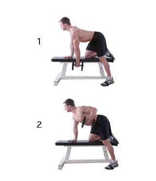 Single-Arm Dumbbell Row:  2 sets of 12 to 15 reps each arm