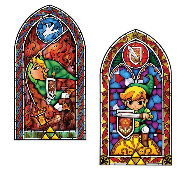 These self-adhesive stained-glass decals feature art from The Legend of Zelda: The Wind Waker HD and would go awesome in any video gamer's house. Link has never looked better than in these two vinyl wall decals. Choose from Link with his sword or Link swinging (or buy both!) and spruce up your game room. Each sticker is …
