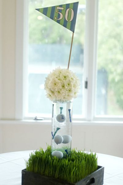 Golf themed centerpiece | Groves