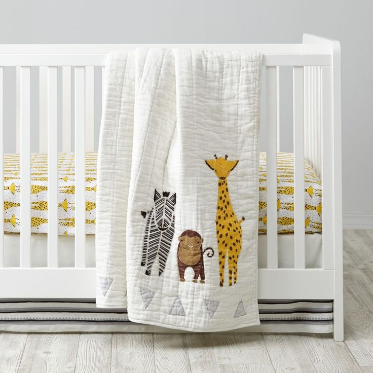 A savanna and a nursery aren't so different. They're both quiet. They're both inhabited by creatures that stay up all night. And if you add our white cotton Savanna Toddler Sheet Set, they'll both feature playful printed giraffes illustrated exclusively for us by Gingiber.<br><br><NEWTAG/><h2>Details, details</h2><ul><li> Nod exclusive</li><li> A Gingiber design</li><li> Baby Quilt has a cotton linen base with hand embroidered animals</li><li> Fitted Sheet features a charming animal…