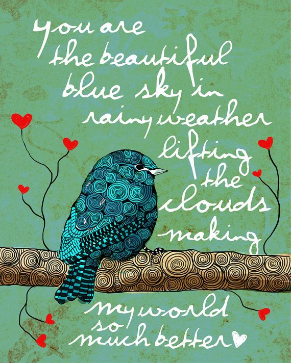 You are My Blue Sky / original illustration ART by studio3ten, $20.00