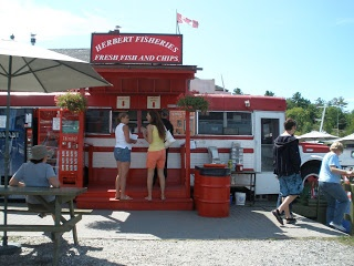 Killarney Red School bus with the best fish and chips