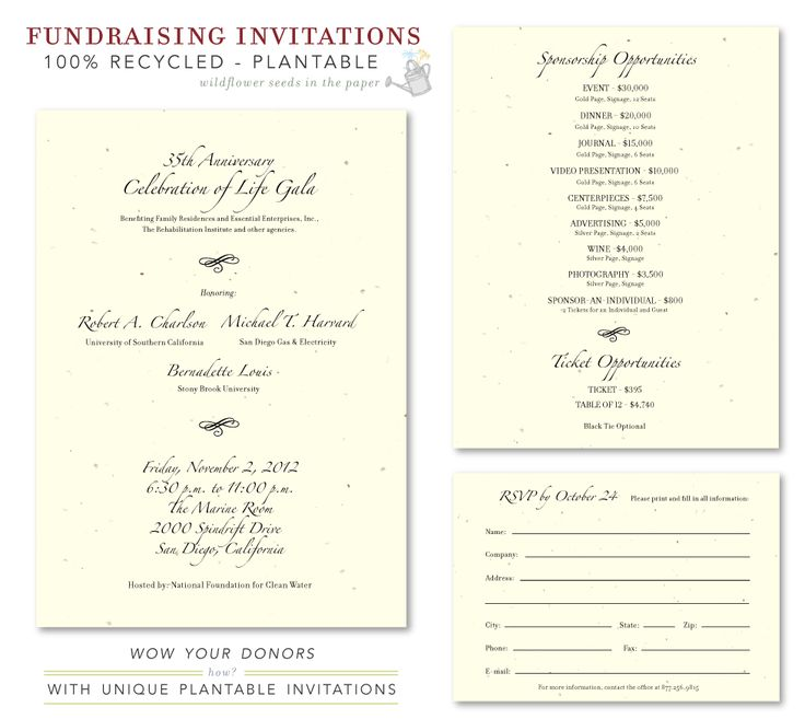 Unique Gala Invitations ~ Elegant Fundraising *plantable ...