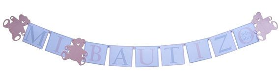 Mi Bautizo Baptism Banner Personalized Baptism Decorations for Girls  by SetToCelebrate, $14.00 Light Pink & Silver or custom colors!