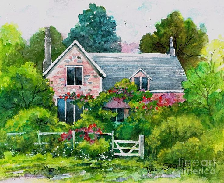 English Country Cottage Painting English Country Cottage