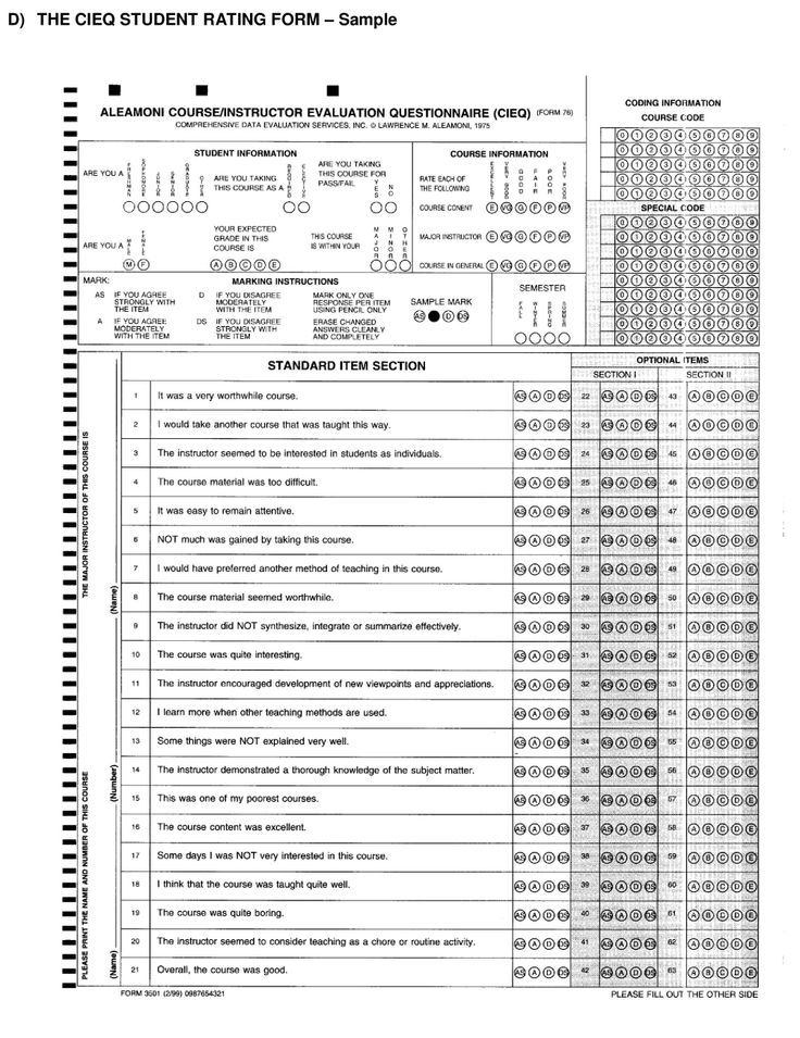 Sample Course Evaluation Form] Clarke University Located In Dubuque ...
