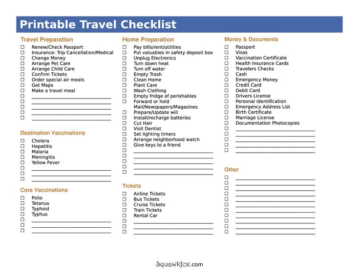 16 best Travel Checklist images on Pinterest Checklist template - sample travel checklist