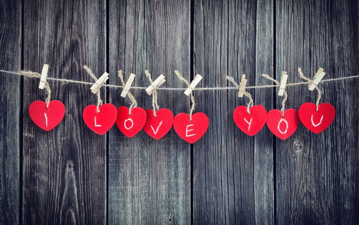Download wallpapers I love you, 4k, Valentine Day, hearts, wooden background, creative