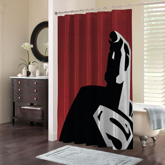 Superman Superhero Shower Curtain Bathroom Accessories Home Decor