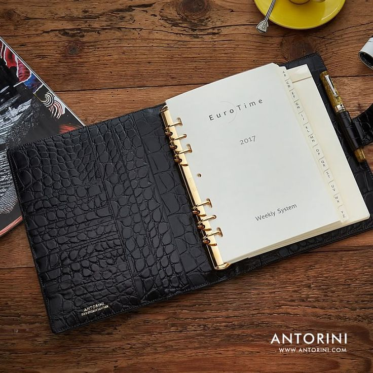 Antorini – Leather Manager A5 Organiser In Black Croc