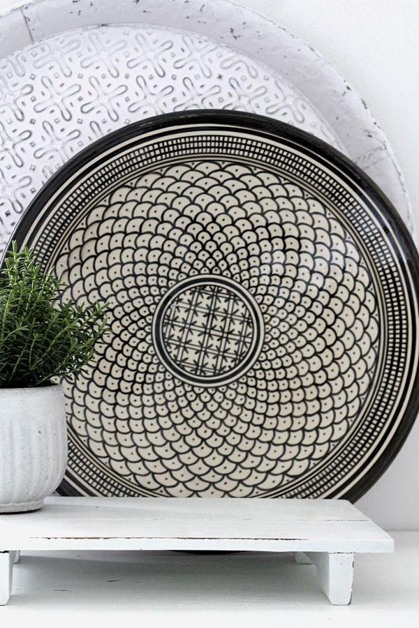 Marokkanischer Keramikteller / Schale Welle schwarz 35 cm - H O U S E of I D E A S