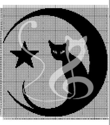 filet crochet star | Filet crochet Cat with Moon and Star - Kalimbra - Curtains