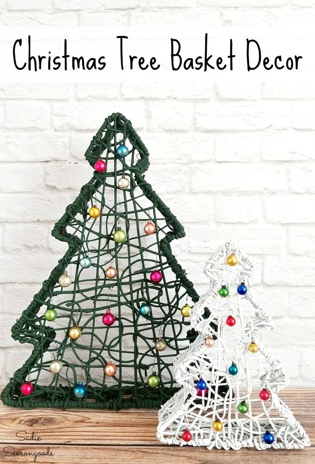 Christmas Tree Baskets Upcycled for the Holidays and Winter Decor