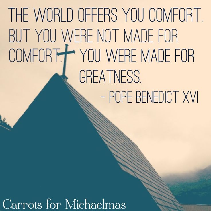 """The world offers you comfort. But you were not made for comfort. You were made for greatness.""- Pope Benedict XVI"