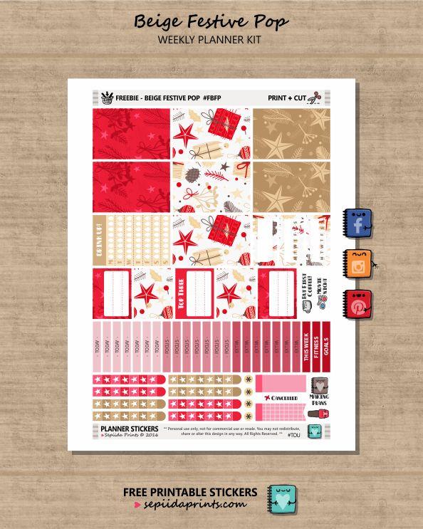 Free Printable Beige Festive Pop Planner Stickers from Sepiida Prints