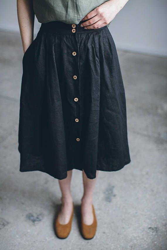 Linen skirt/ Linen skirt with buttons/ Washed linen skirt/ Soft linen skirt/ Basic linen skirt