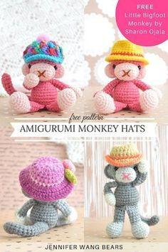 FREE pattern: Crochet Amigurumi Monkey Hats   Jennifer Wang Bears (free Little Bigfoot Monkey by Sharon Ojala)