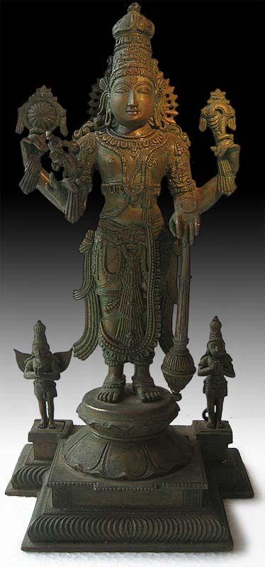 Antique Indian Chola Bronze Statue Vishnu Garuda and Hanuman Origin: India. Circa: early 1900S'