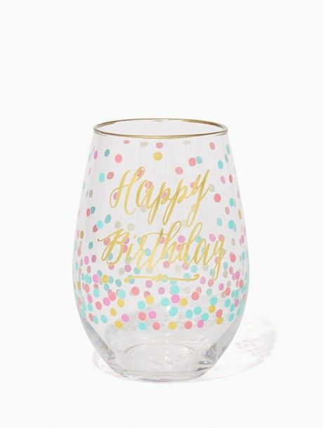 Happy Birthday Dotted Wine Glass - Things We Love   Charming Charlie