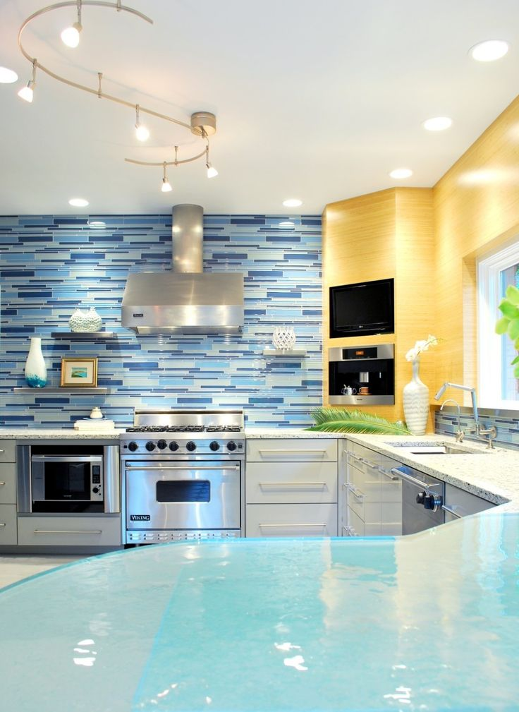 Kitchen  Fancy Blue Mosaic Kitchen Backsplash Tile Paired With Acrylic Kitchen Table Also Circular Track Lighting These Backsplash Styles will Change your Kitchens