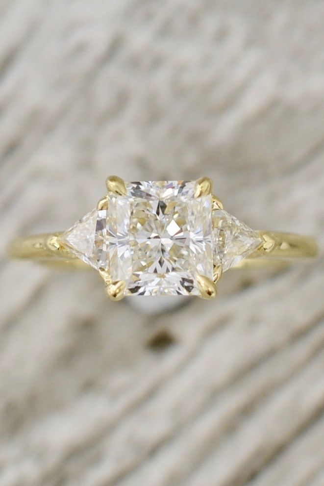 778c68be280 Radiant Cut Diamond in a Three Stone Basket Set Engagement Ring in ...