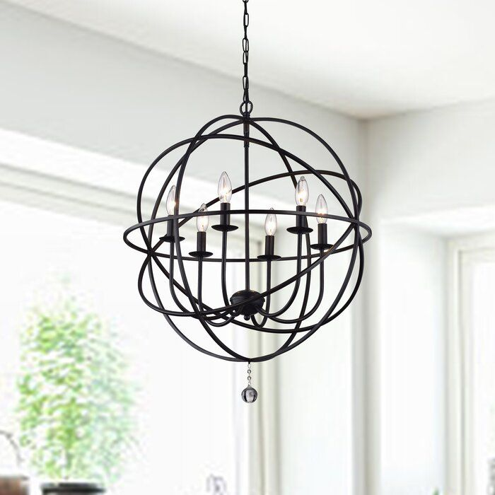 Gracie Oaks Eastbourne 6 Light Unique Statement Globe Chandelier Reviews Wayfair Globe Chandelier Globe Lights Chandelier